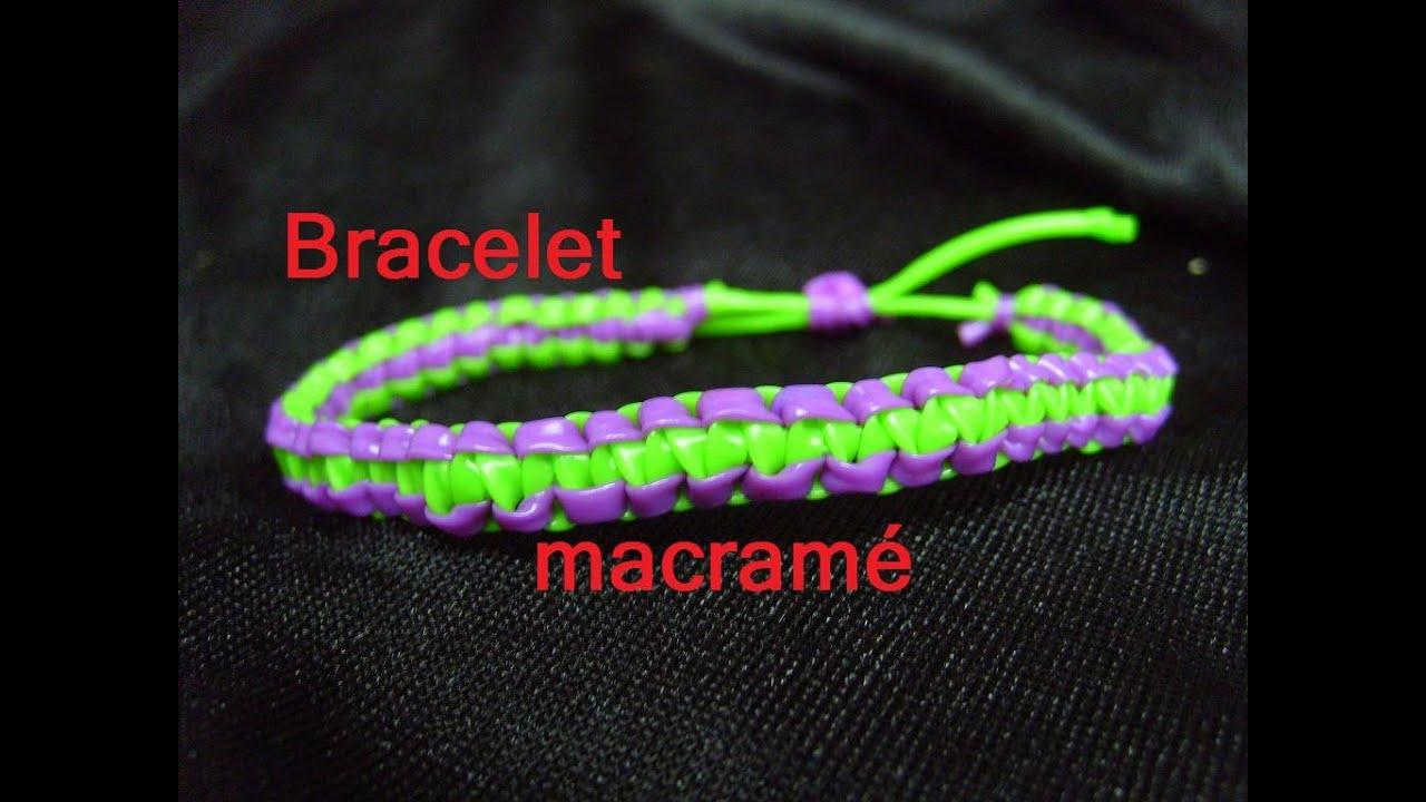 Bracelet scoubidou macram tuto francais youtube - Comment faire les bracelet elastique ...