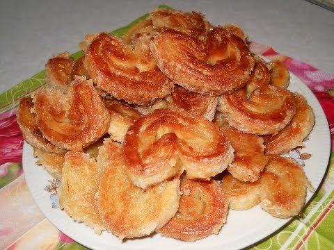 Печенье Ушки слоеные.  Рецепты из слоеного теста