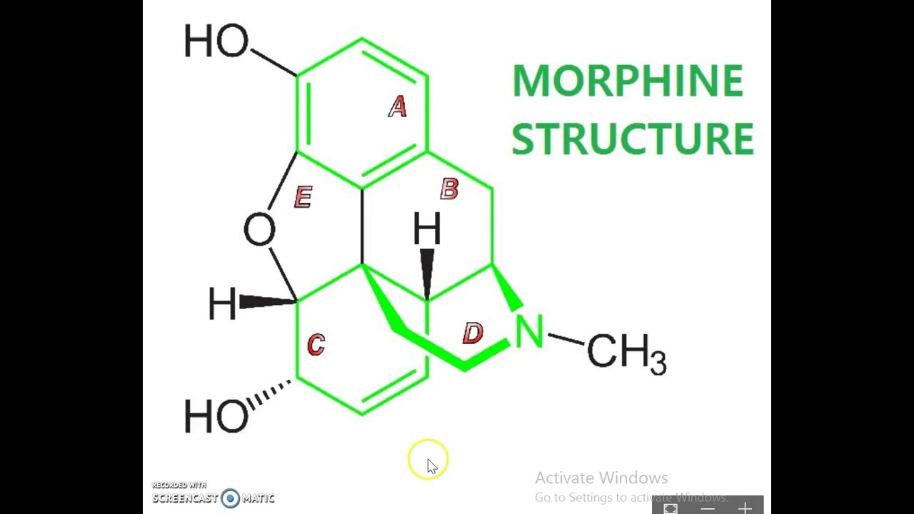 the chemical structure of morphine Opium alkaloids are of two types, depending on chemical structure and action morphine, codeine, and thebaine, which represent one type, act upon the central nervous system and are analgesic , narcotic, and potentially addicting compounds.