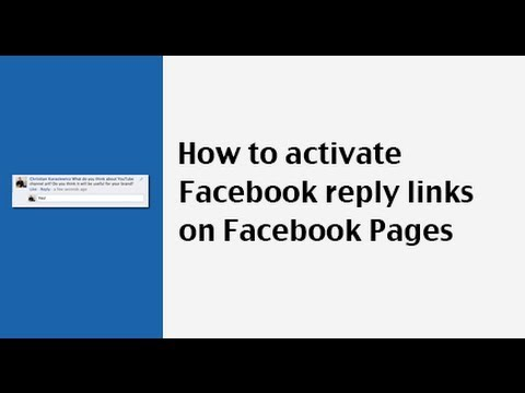 How To Activate Facebook Reply Links For Comments