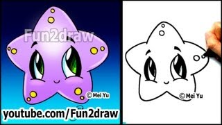 Easy Drawing Tutorials - How to Draw a Cute Starfish (Cartoon Art Lesson)