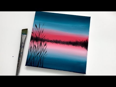 Red Blue Lake Acrylic Painting For Beginners On Canvas Easy Abstract Landscape Youtube