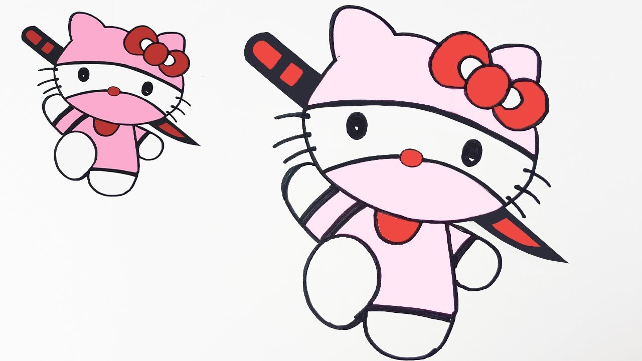 How To Draw Hello Kitty Ninja Version Easy Step By Step