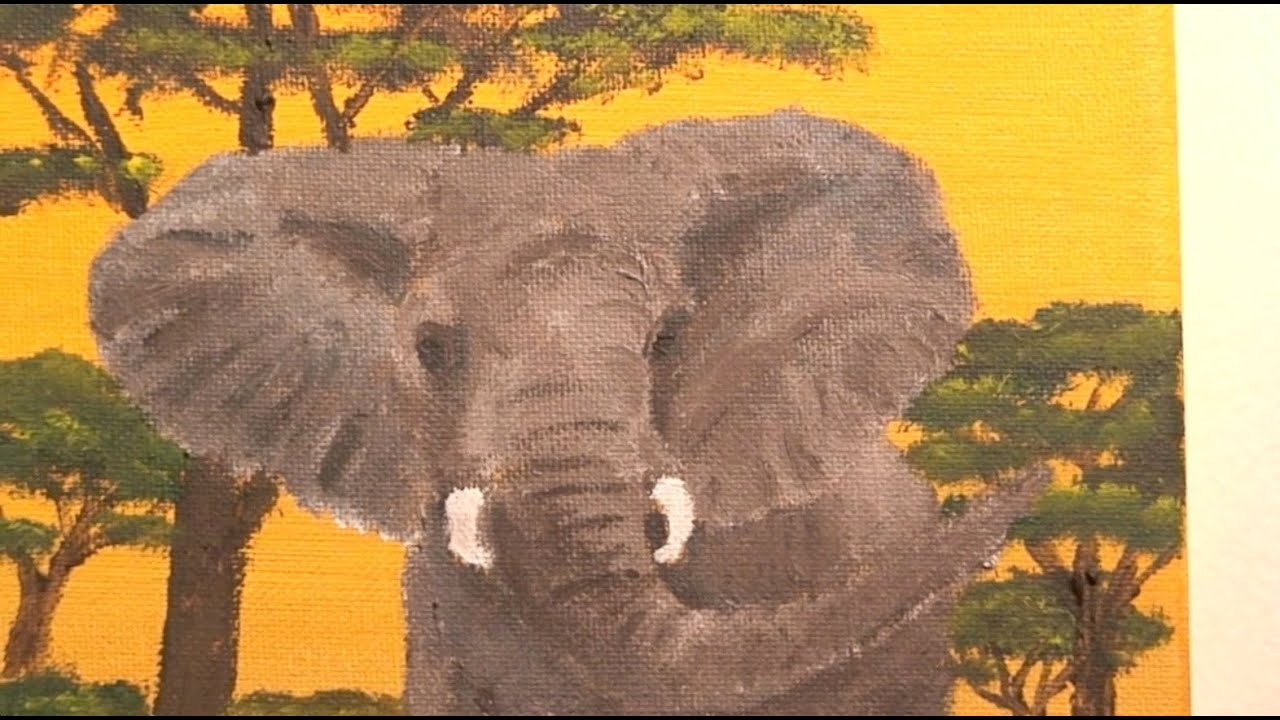 African Elephant in Sunset - acrylic painting - YouTube