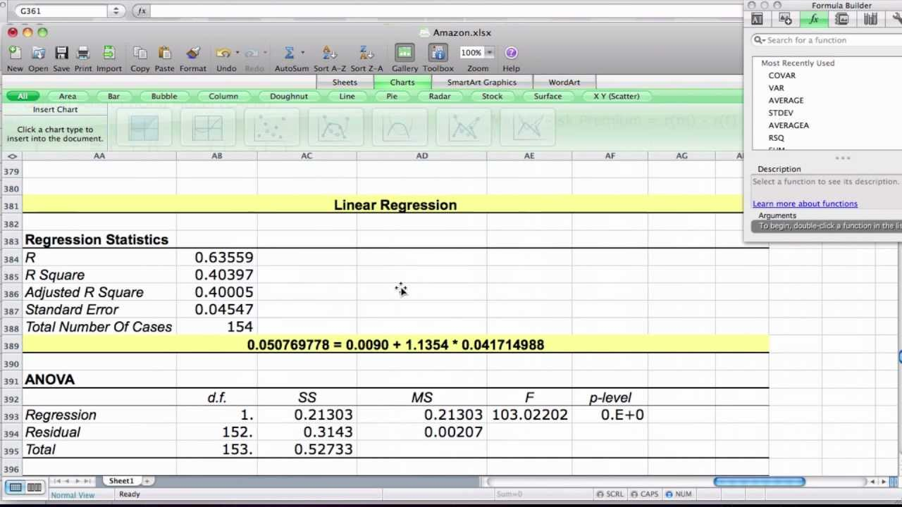 Example of the Capital Asset Pricing Model Using Excel