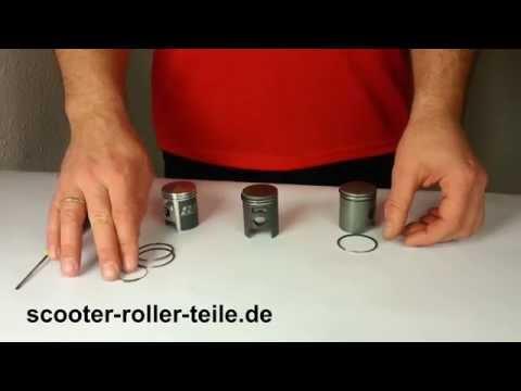 Kolbenringe montieren einbauen Einbauanleitung 2 Takt Kolben Zylinder Montage von Kolbenringen 2T