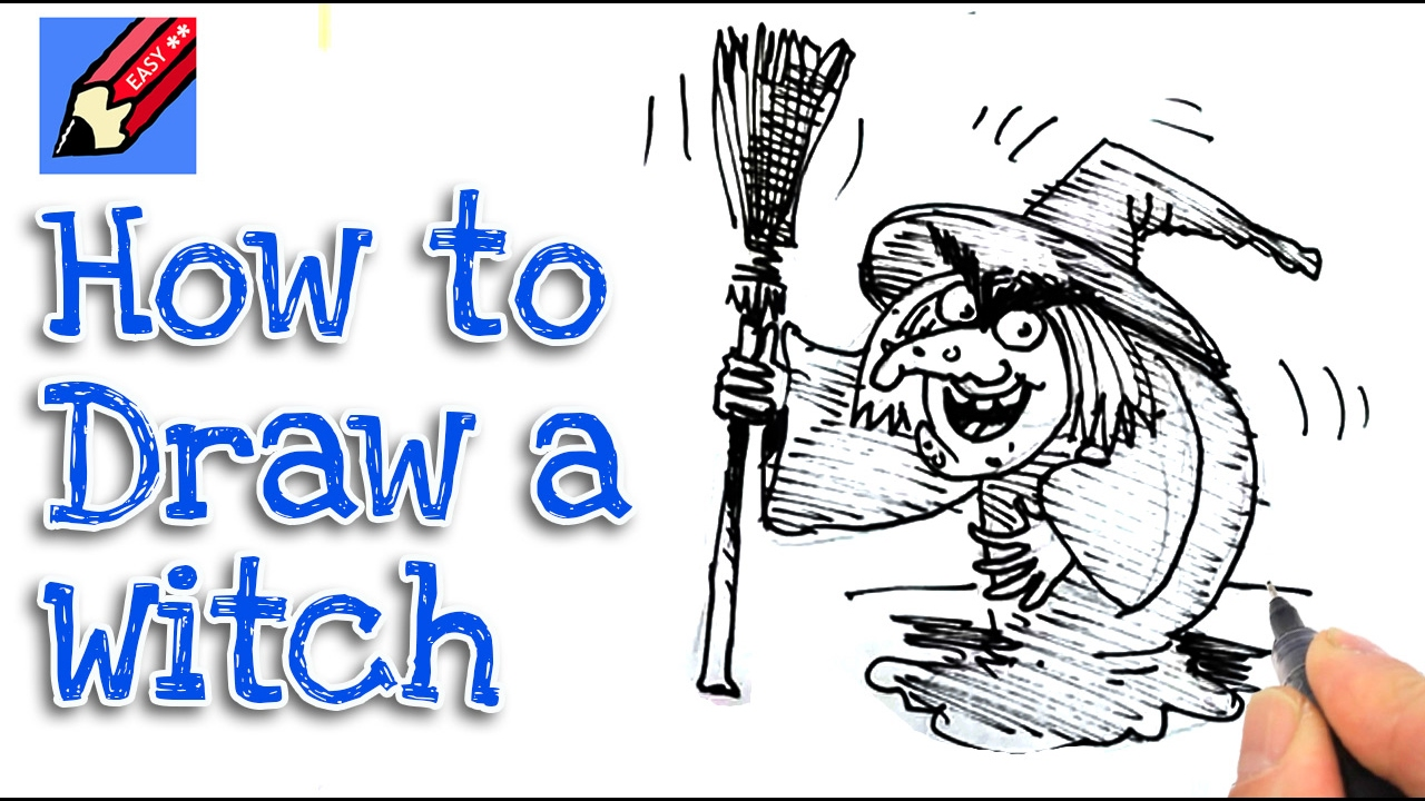 learn how to draw a halloween witch real easy for kids and beginners