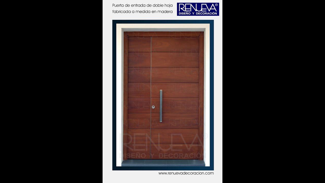 Puerta doble de iroco renueva dise o y decoraci n youtube for Puerta doble madera