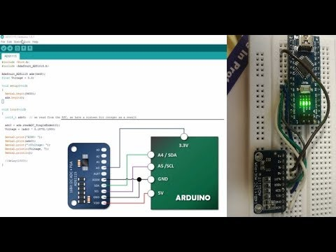 ADS1115 i2C interface with Arduino  Send output data on Serial Monitor or  Docklight