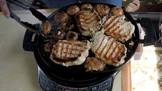 NuWave 2 Induction Pork Chops and Mushrooms