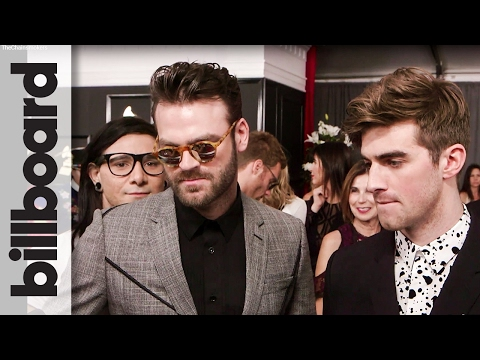 The Chainsmokers: Red Carpet After Winning First Grammy For 'Don't Let Me Down' Ft. Daya | Billboard