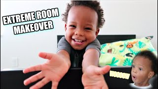 2yr Olds Extreme Bedroom Makeover!! *his reaction is priceless*