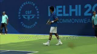 Indian tennis player Somdev Devvarman in action at Commonwealth Games 2010