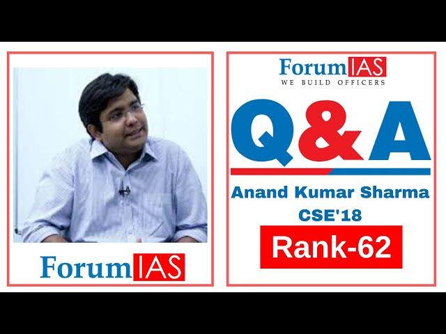 Anand Kumar Sharma AIR 62 CSE 2018| Medical Science Optional| 4th Attempt