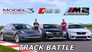Tesla Model 3 vs BMW M2 Competition vs Audi RS3 - TRACK REVIEW // DRAG RACE & LAP TIMES