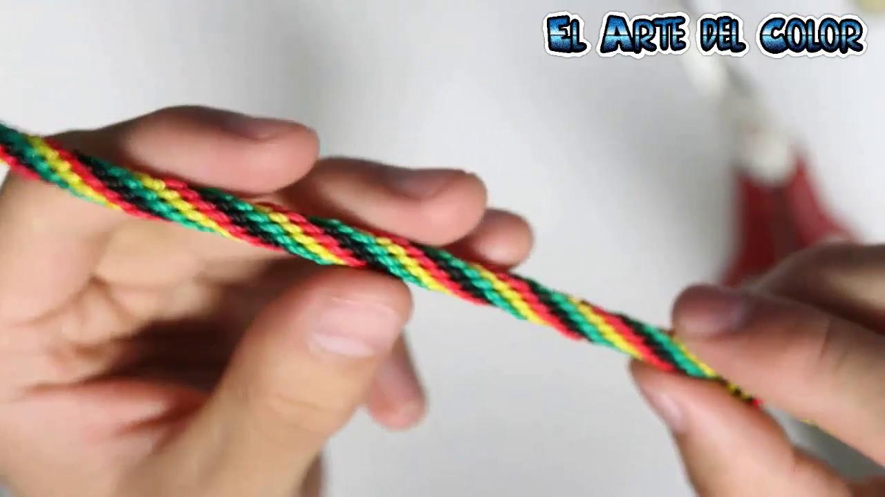 9e48fc47a3a6 Pulsera rasta / pulsera kumihimo / kumihimo redondo / pulsera de hilo by El  Arte del Color