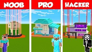 Minecraft Noob Vs Pro Vs Hacker Safest House Defense Challenge In Minecraft  Animation