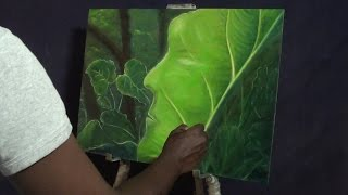 How to draw oil painting,living leaf - Abstract art