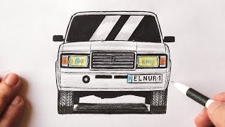 How to draw a car VAZ 2107 step by step