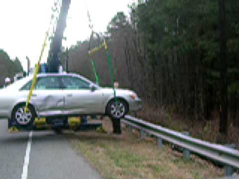 Johns Towing Car Accident Over Guard Rail Recovery Youtube