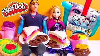 Frozen Picnic Basket Play Set Play Doh Pastry Picnic Disney Princess Anna Elsa Olaf Kristoff Diy