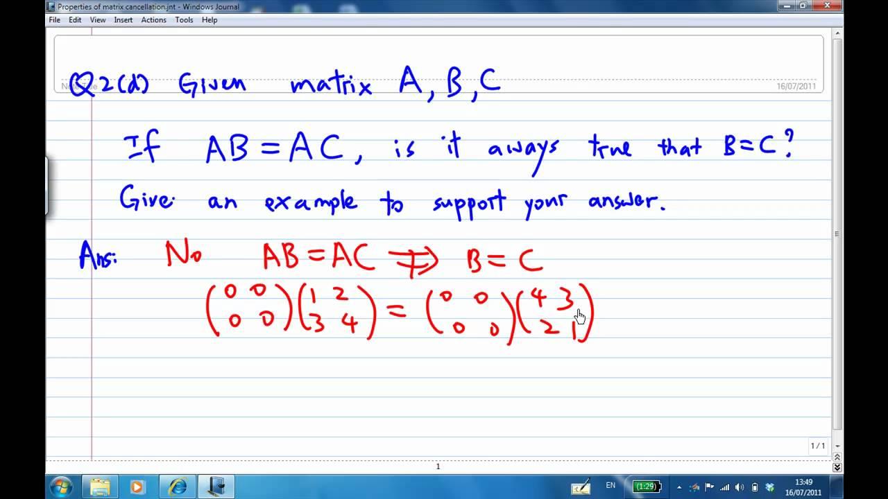 Q2d properties of matrix cancellation youtube q2d properties of matrix cancellation biocorpaavc