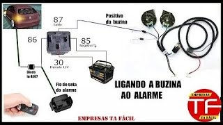 Como ligar a buzina do carro interligada ao alarme
