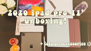 2020 iPadPro 11 unboxing!!!! +lots of accessories, apple pencil, cases and more!!!
