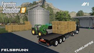 Baling a straw | Animals on Felsbrunn | Farming Simulator 19 | Episode 1