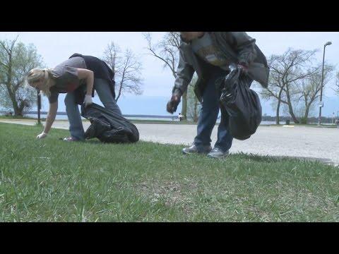 Community members participate in park clean-up