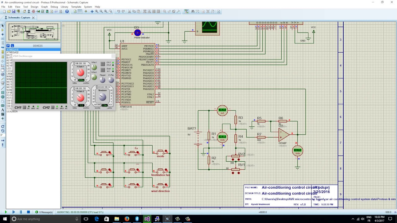 Atmega16 microcontroller car air conditioning control system data
