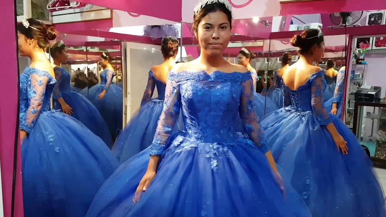 Vestidos color azul rey con manga