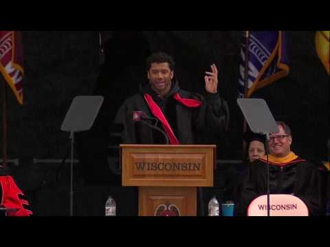 Russell Wilson addresses graduates at UW-Madison Spring Commencement 2016