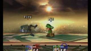 Super smash bros brawl Pat(mario)  vs Fire(Falco) match 1