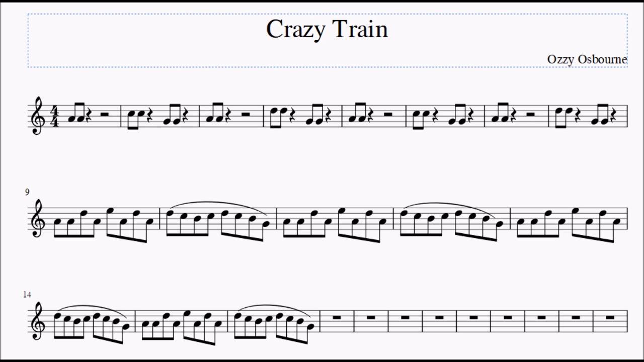 Crazy train for altobari sax sheet music youtube crazy train for altobari sax sheet music hexwebz Choice Image