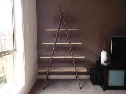 Antique Vintage Industrial Style Wood Metal Display Ladder