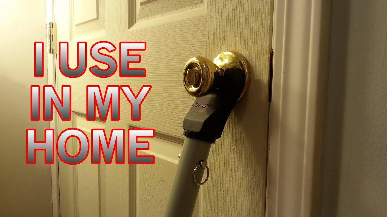 Feel Safe At Home Doorknob Stopper Door Brace Security Bar Youtube