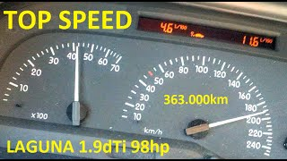 Renault Laguna 1.9dTi - 95-192km/h 5th gear acceleration and top speed
