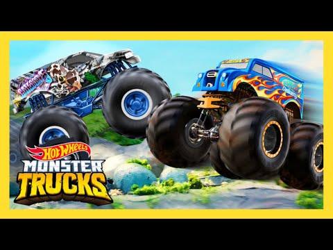 Monster Trucks Vs Boulder Avalanche Monster Trucks Hot Wheels Youtube