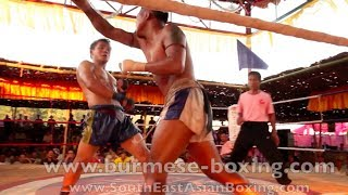 Lethwei Burmese Boxing [HD] - Fight Tournament near Eindu (4) - Kayin State Myanmar - Thingyan 2013