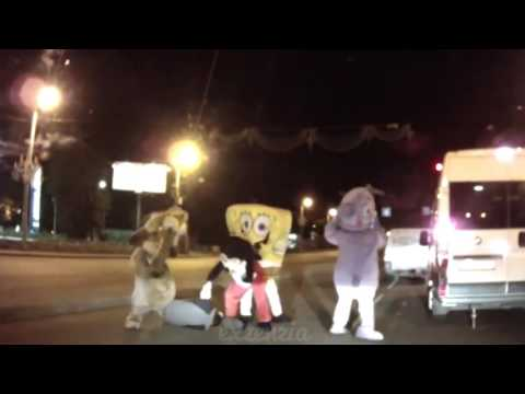 I put spongebob music over a guy getting beat up by spongebob and other cartoon characters