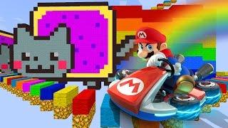 Minecraft EXTREME SPEED RAINBOW ROAD - Mario Kart Remake w/ BajanCanadian