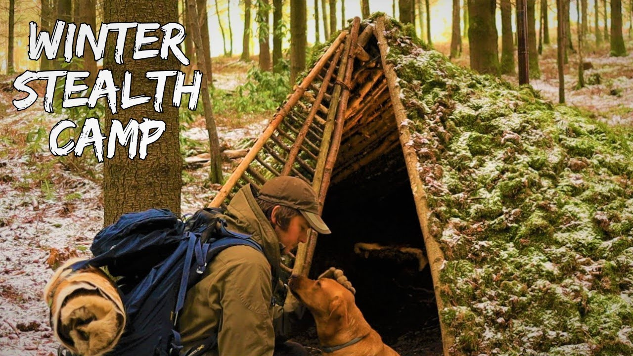 WINTER OVERNIGHTER: Solo Bushcraft Stealth Camp In The Snow - Sleeping On Deer Hides - Stove Cooking