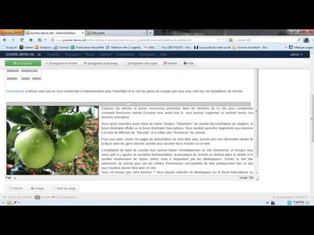 Joomla 3 - Utilisation de l'éditeur JCE