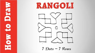 How to Draw a Simple Rangoli Using 7 Dots - 7 Rows
