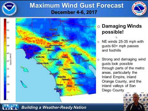 Strong Santa Ana Winds Next Week, December 4-7th