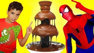 CHOCOLATE FOUNTAIN Battle with fruits ADEL SAMI