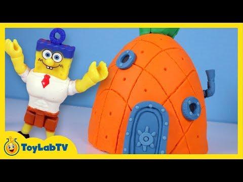 Giant SpongeBob Pineapple Play Doh Surprise Egg with Minions, Jurassic World & Marvel Toys
