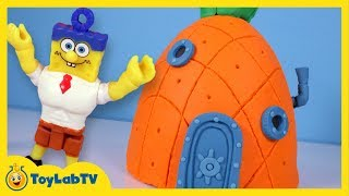 giant spongebob pineapple play doh surprise egg with minions jurassic world marvel toys