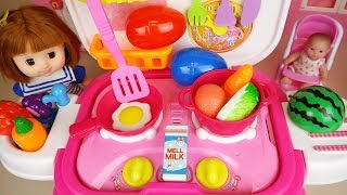 Baby doll kitchen cooking and surprise eggs baby Doli play